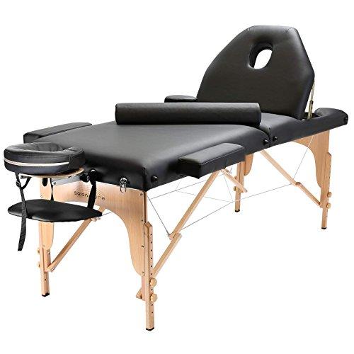 Saloniture Professional Portable Massage Table With Backrest Black Salonit